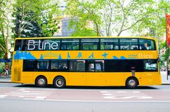 B-Line is modern yellow double deck buses which provide frequent and reliable services on Sydney`s Northern Beaches. royalty free stock photo