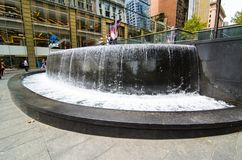 Lloyd Rees Fountain is beautiful iconic waterfall fountain at Martin place. stock photo