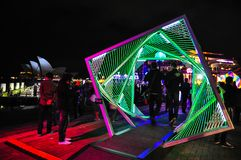 An annual outdoor lighting festival with green tunnel immersive light installations and projections in `Vivid Sydney`. stock photos