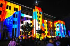 An annual outdoor lighting festival with immersive light installations and projections `Vivid Sydney`. SYDNEY, AUSTRALIA. – On May 27, 2012. - An annual royalty free stock photography