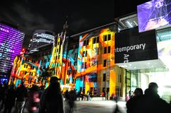 An annual outdoor lighting festival with immersive light installations and projections `Vivid Sydney`. SYDNEY, AUSTRALIA. – On May 27, 2012. - An annual royalty free stock photo