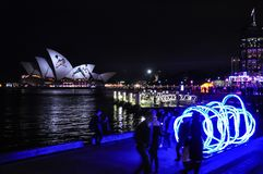 An annual outdoor lighting festival with Opera house immersive light installations and projections in `Vivid Sydney` stock images