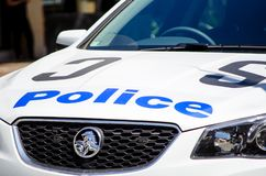 Australian new south wales police car used Holden car brand, the image shows its logo in close-up. SYDNEY, AUSTRALIA. – On November 14, 2017 - Australian stock photography
