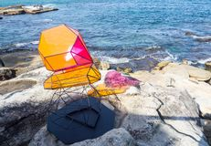 `Cairn` is a sculptural artwork by Alessandra rossi at the Sculpture by the Sea annual events free to the public at Bondi. SYDNEY, AUSTRALIA. – On stock photography
