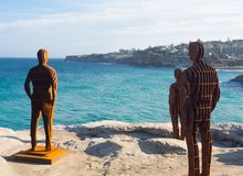 `Shifting horizons` is a sculptural artwork by April pine at the Sculpture by the Sea annual events free to the public at Bondi. SYDNEY, AUSTRALIA. – On stock photos
