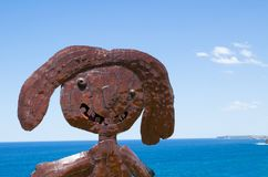 ` Welding iron sculptor ` is a sculptural artwork by Naidee Changmoh at the Sculpture by the Sea annual events free to the public. SYDNEY, AUSTRALIA. – royalty free stock photos