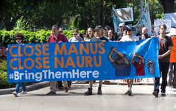 At Hyde park,a hundred of protester to support refugees and demanding to Australia government for closing Manus and Naura camp. royalty free stock photo