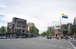The oxford street at Taylor square, Darlinghurst, New South Wales. royalty free stock photography