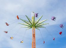 The view of Swing ride tower at Sydney Royal Easter show in sunny day. royalty free stock images