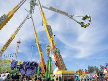 The view of Swing ride tower at Sydney Royal Easter show in sunny day. royalty free stock photos