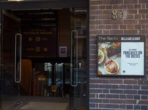 Pancakes on The Rocks is a casual, modern, Australian-style restaurant open 24 hours, 7 days a week. SYDNEY, AUSTRALIA. – On ‎May 6, 2019 stock photography