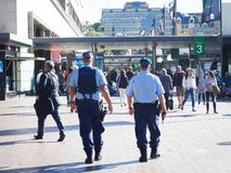 Two New South Wales police officer on duty at Circular Quay. stock image