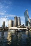 Sydney, Australia. Circular Quay Railway Station in Sydney Cove with view of downtown skyscrapers in Sydney, Australia stock images