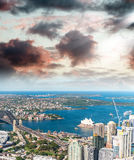 Sydney, Australia. Awesome aerial view from helicopter on a beau Royalty Free Stock Photo