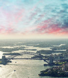 Sydney, Australia. Awesome aerial view from helicopter on a beau Royalty Free Stock Images