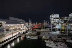 Sydney, Australia - circa September 2016: View of the Australian National Maritime Museum in Darling Harbour, Australia. Night scene of the Maritime Museum in Stock Photography