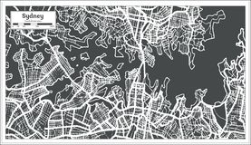 Sydney Australia City Map dans le rétro style Illustration noire et blanche de vecteur illustration libre de droits