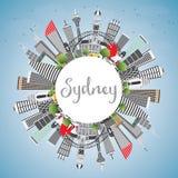 Sydney Australia City Skyline avec Gray Buildings, ciel bleu et illustration stock
