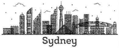 Sydney Australia City Skyline gravé avec l'OIN moderne de bâtiments illustration de vecteur