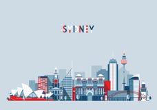 Sydney Australia City Skyline Vector-Achtergrond Stock Afbeeldingen