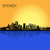 Sydney, Australia, city, skyline, vector illustration in flat design for web sites, Infographic design Royalty Free Stock Photography