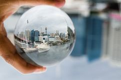 Sydney Australia Cityscape view photography in clear crystal glass ball. stock photography