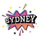 Sydney Australia Comic Text en el estallido Art Style Fotografía de archivo libre de regalías