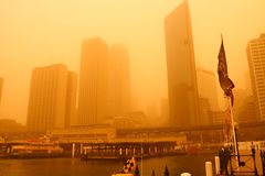 Sydney, Australia, covered in extreme dust storm. An extreme dust storm descends on Sydney, Australia Stock Images