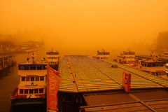 Sydney, Australia, covered by extreme dust storm. An extreme dust storm descends on Sydney, Australia.  Ferries cancelled due to poor visibillity Royalty Free Stock Photography