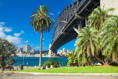 People in front of Harbour bridge in Sydney, Australia. Royalty Free Stock Images