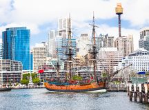 James Cook at Sydney tall-ship Darling Harbour. Sydney, Australi Stock Images