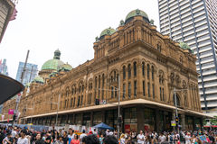 Sydney, Australia - December 26, 2015: Croud of people at the fa. Mous shopping mall around Sydney CBD during the boxing day sales Stock Photography