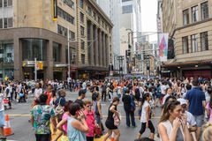 Sydney, Australia - December 26, 2015: Croud of people at the fa. Mous shopping mall around Sydney CBD during the boxing day sales Royalty Free Stock Image