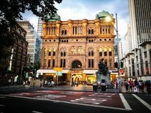 The Queen Victoria Building at evening, the image shows the entrance from Town hall. Sydney, Australia. - On December 18, 2016. - The Queen Victoria Building at Stock Photo
