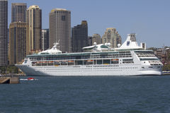 SYDNEY, AUSTRALIA-December 19th 2913: The cruise ship Rhapsody o. F the Seas, moored at Circular Quay in Sydney Harbour. The ship is owned by Royal Caribbean Stock Images