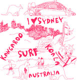 Sydney and Australia doodles Royalty Free Stock Photo