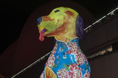 Sydney Australia Feb 16 2018, celebrating lunar new year - illuminated giant paper lantern of a dog with decorated vest royalty free stock image