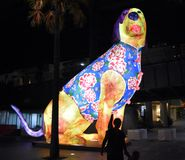 Larger than life lanterns in the shape of Dog. Chinese zodiac animals at Circular Quay. Sydney, Australia - Feb 7, 2019. Larger than life lanterns in the shape stock photo