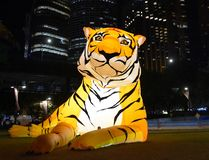 Larger than life lanterns in the shape of Tiger. Chinese zodiac animals at Circular Quay. Sydney, Australia - Feb 7, 2019. Larger than life lanterns in the shape royalty free stock images