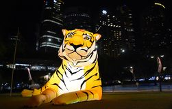 Larger than life lanterns in the shape of Tiger. Chinese zodiac animals at Circular Quay. Sydney, Australia - Feb 7, 2019. Larger than life lanterns in the shape royalty free stock photos
