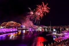 SYDNEY, AUSTRALIA - 9 febbraio 2015: Scena di notte di Darling Ha Immagini Stock Libere da Diritti