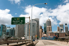 Sydney, Australia - February 26, 2017: Part of the Sydney skiline during a road trip in Sydney City, Australia. Sydney skyline view from the road while stock photos