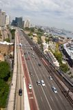 Sydney, Australia highway. A high-speed highway feeds into the Sydney Harbour Bridge, taken from one of the bridg support towers, with a portion of downtown Royalty Free Stock Images