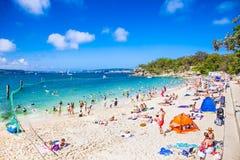 Lovely sandy Shark Beach in Nielsen national park near Sydney, A Stock Photos