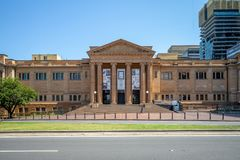 Facade of public library of new south wales, a large heritage-listed special collections,. The State Library of New South Wales, part of which is known as the royalty free stock photos