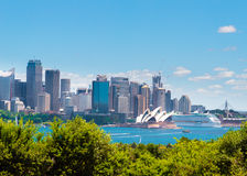 Sydney, Australia - January 11, 2014 : View over Opera House and Central Business District skyline Royalty Free Stock Photography