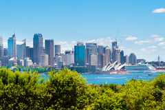 Sydney, Australia - January 11, 2014 : View over Opera House and Central Business District skyline Royalty Free Stock Photos