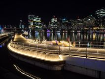 Beautiful Waterfront harbourside walkway at Darling Harbour with cityscape view at the background in night time.rpose spaces. SYDNEY, AUSTRALIA – On June stock image