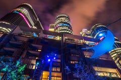 Sydney, Australia - June 2, 2017, buildings at Darling Harbour illuminated during Vivid Sydney stock photo