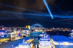 Illuminated lights on Sydney harbour bridge at Vivid Sydney is an annual festival of light, music and ideas, held in Sydney. stock photography